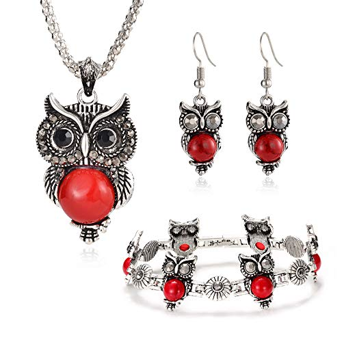 Miraculous Garden Girls Vintage Owl Jewelry Sets Silver Retro Turquoise Gemstone Owl Pendant Necklace Drop Earrings Charm Bracelet Set (Red) ()