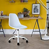 Mid Century Low-Back Armless Home Office Swiveling Chair with Adjustable Height studio chair, White