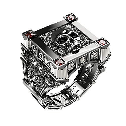 EEJART 925 Sterling Silver Roman Ruby Rings, Skull Square Set Vampire Biker Caesar Crown Ring for Men (silver, 12)