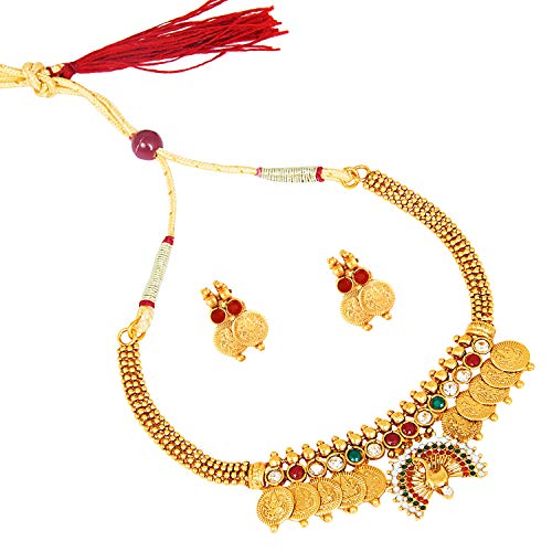 bodha 22K Traditional Indian Bollywood Designer Gold Coin Necklace Jewelry Set for Girls & Women (SJ_2688) ()