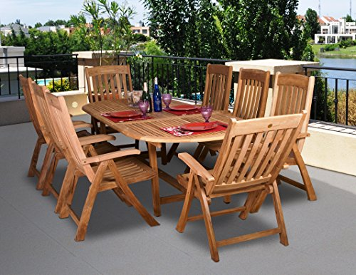 Amazonia Teak Belfast 9-Piece Teak Oval Dining Set - Amazonia Teak Collection 1 Oval Extendable Table 39Wx71Lx29H Extended Length:95, 8 Position Chairs 26Wx24Dx43H. Seating Dimensions:20Wx18Dx18H. High Quality Teak Wood (Tectona Grandis) - patio-furniture, dining-sets-patio-funiture, patio - 512BFRHbEHL -