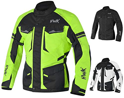 - Adventure/Touring Motorcycle Jacket For Men Textile Motorbike CE Armored Waterproof Jackets ADV 4-Season (Hi-Vis Green, 2XL)