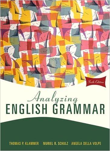 Amazon Com Analyzing English Grammar 6th Edition 9780205685943 Klammer Thomas P Schulz Muriel R Della Volpe Angela Books