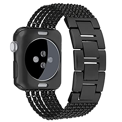 Apple Watch Band 42mm 38mm,Oitom New fashion Stainless steel Replacement Wristband Straps with Plated TPU Protective Bumper Case for Apple Watch Nike+,Series 1,Series 2,Sport,Apple Watch Edition