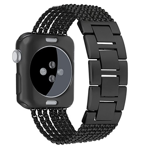 Oitom Stainless Steel Replacement Wristband Straps Band with Plated TPU Protective Bumper Case for Apple Watch Nike+,Series 1,Series 2,Series 3,Sport,Apple Watch Edition(Space Black,42mm)