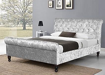 Marco de cama tipo trineo y diseño Chesterfield con terciopelo ...