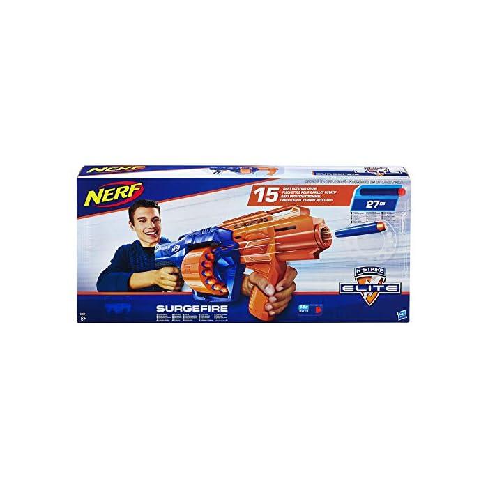512BFkbNIdL Lanza los dardos Elite de Nerf desde el tambor rotatorio de 15 dardos El lanzador lanza dardos Elite de Nerf a una distancia de hasta 27 metros Lanza dardos rápidamente en ráfaga