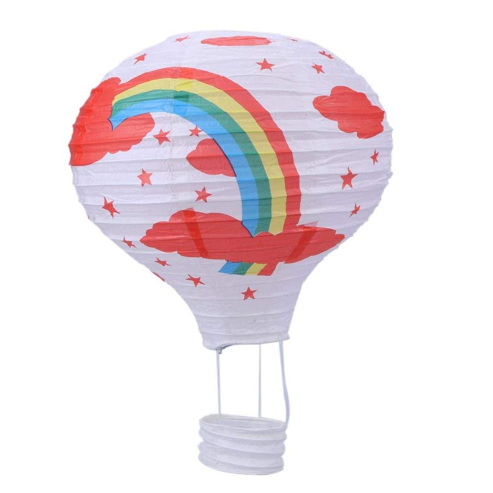 Potelin 12'' Hot Air Balloon Paper Lantern Lampshade Ceiling Light Birthday Wedding Party Decoration White Rainbow Durable and Useful