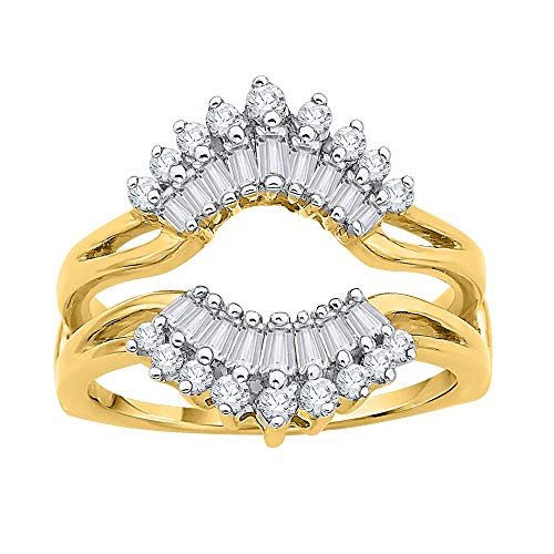 Band Round Diamond Brilliant Baguette (KATARINA Round and Baguette Cut Diamond Ring Guard in 14K Yellow Gold (3/4 cttw) (Color-GH, Clarity-VSSI))