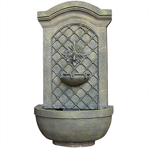 Sunnydaze Rosette Solar Outdoor Wall Mounted Water Fountain, Solar on Demand, 31-Inch, French Limestone Finish