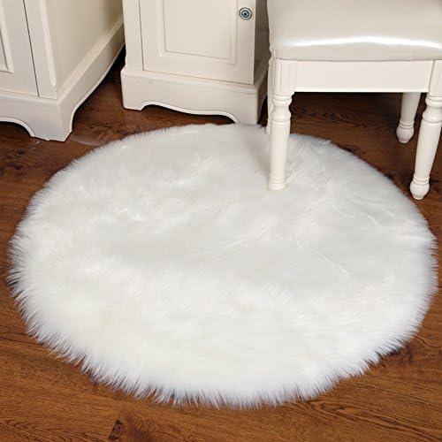 Junovo Ultra Soft Thick Fluffy Round Faux Sheepskin Area Rug for Living Room Bedroom Dormitory Home Decor, Diameter 4ft White