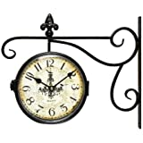 Adeco Black Iron Vintage-Inspired Round Chandelier Double-Sided Wall Hanging Clock with Scroll Wall Mount Home Decor