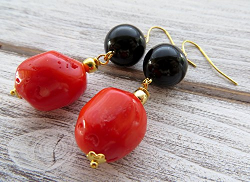s with black agate, stone earrings, dangling earrings, color block jewelry, contemporary jewelry, modern jewelry ()