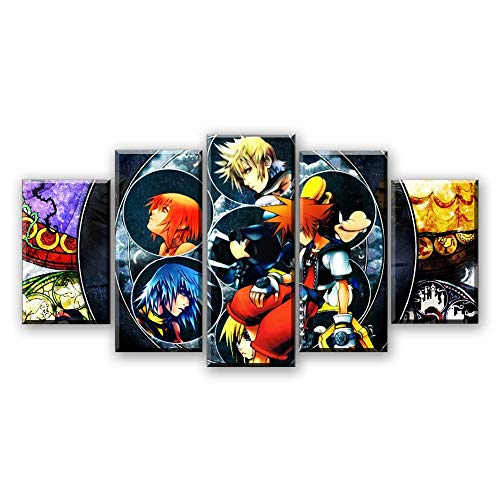 (lzmlzm 5 Canvas paintings5 Pieces Canvas Painting Kingdom Hearts HD Painting Anime Poster Salon Cartoon Wall Painting)