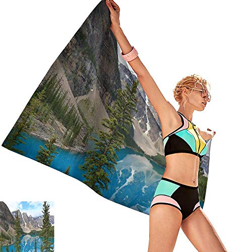 homehot Bath Towel wrap for Women Canadian Rocky Mountain Parks Moraine Lake,W12 xL35 for Bathroom Striped -