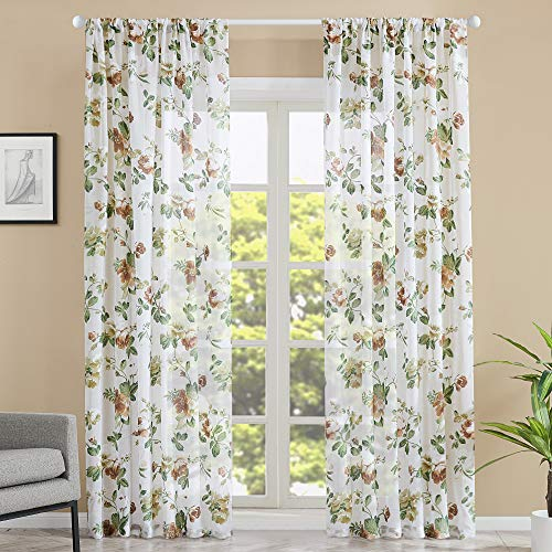 MRTREES Sheer Curtains Cotton Blend Floral Print Curtain Panels Living Room Bedroom Window Treatment Brown Leaf Flower Printed Rod Pocket Drapes 84 inch Length, 2 Panels