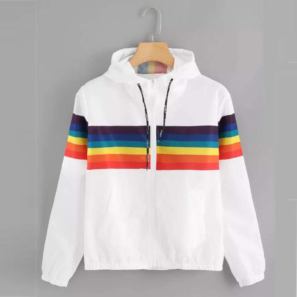 Longra Damen Jacken Rainbow Patchwork Kapuzenjacke Sweatjacke Herbstjacke  Leichte Jacke Oversized übergangsjacke Steppjacke Weiß Hoodie Sweatshirt  mit ... bea2b67500