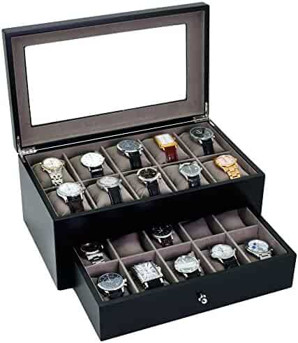 Watch Box for 20 Watches XL Extra Large Compartments Fits 65mm Soft Cushions Clearance (Black)