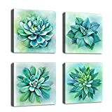 "yearainn Succulent Wall Art Green Plants Contemporary Canvas Picture Modern Art Prints for Bedroom Bathroom Living Room Wall Decor 12"" x 12"" x 4 Pieces"