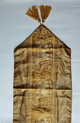 Home decor Thai silk table runner elephant (Gold)