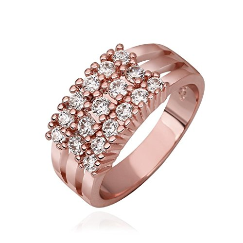 AmDxD Gold Plated Women Rings Rose Gold Smooth Surface Inlaid CZ Size 8