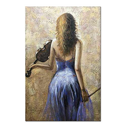 Desihum-Abstract Canvas Wall Art Violin Girl Back Paintings Purple Artwork Wooden Framed piuture for Living Room Bedroom 24x36 Inch