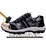JACKSHIBO Mens Womens Work Safety Shoes, Breathable Outdoor Steel Toe Footwear Industrial and Construction Shoes,Hiking Shoes,Black 42
