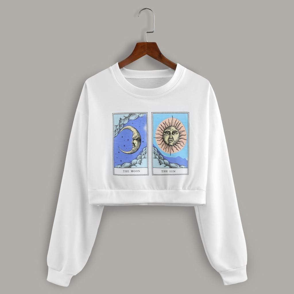 Whycat The Moon and The Sun Cropped Sweatshirt Women Long Sleeve Graphic Light Weight Sweatshirt Girls Cute Jumper School Casual Crop Tops