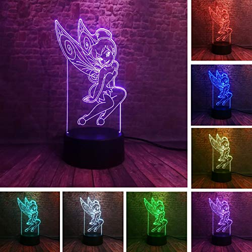 CJRSAM 3dNight Light Peter Pan Fairy Tinker Bell Snowflake Tinkerbell Princess 7 Color Change Action Figure Sleeping Night Light Child Xmas Gift