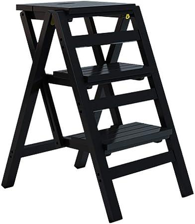 NYDZDM Escalera Plegable con 3 Pasos de Plegado, de Madera del hogar Escalera del Taburete, Alta