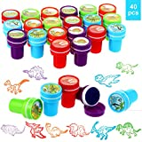 40 Pieces Dinosaur Stampers Assorted Dinosaur Stamps Multicolor Dinosaur Self-Ink Stampers for Party Supplies Gifts
