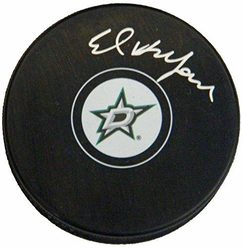 Ed Belfour Signed Dallas Stars NHL Logo Hockey Puck