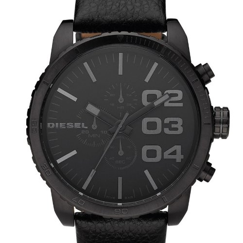 montre diesel homme bracelet cuir noir. Black Bedroom Furniture Sets. Home Design Ideas