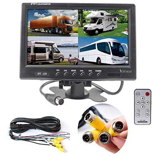 Vanxse 9″ TFT LCD Car Rearview Quad Split Monitor,Remote Control, 4 Channels 4-Pin Aviation Video Inputs – 12V-24V 800X480HD Screen for Car Backup Camera System & Home Security Surveillance