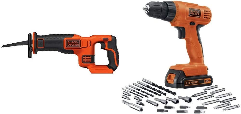 BLACK+DECKER BDCR20B 20V Max Lithium Bare Reciprocating Saw with BLACK+DECKER LD120VA 20-Volt Max Lithium Drill/Driver with 30 Accessories