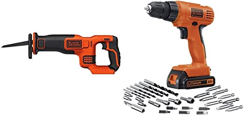 BLACK DECKER BDCR20B 20V Max Lithium Bare Reciprocating Saw with BLACK DECKER LD120VA 20-Volt Max Lithium Drill Driver with 30 Accessories