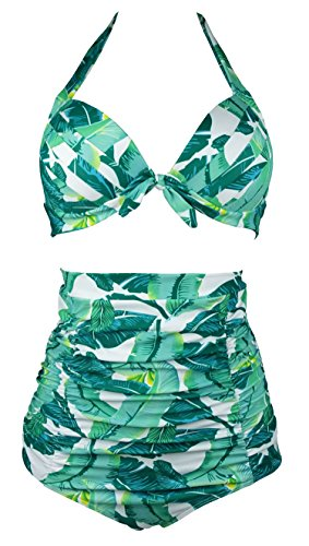 Cocoship Green Banana Leaf & White Print Halter High Waisted Two Piece Bikini Gorgeously dressed Vintage Bathing Suit XXXL(FBA)