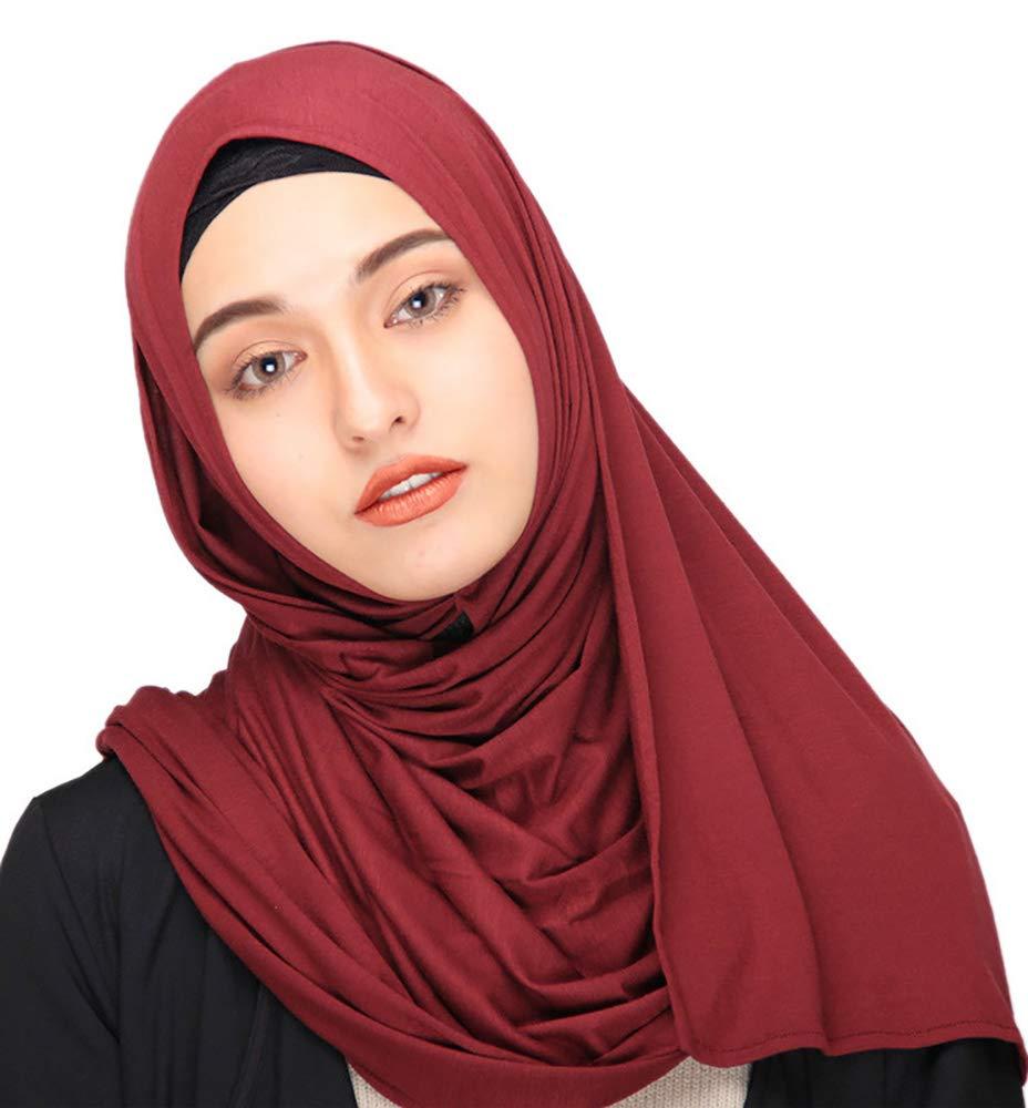 Ababalaya Women's Muslim Islamic Soft Breathable Cotton Long Hijab Head Scarf 70×30 inch,Burgundy