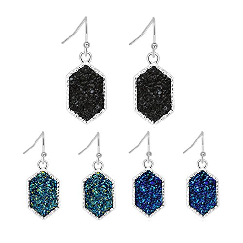 Women's Simulated Druzy Earrings Dangle Drop Silver-Tone Hexagon Charm Black Green Blue Faux Stone Jewelry Gifts for Her, 3 Packs (Silver+black/green/blue)