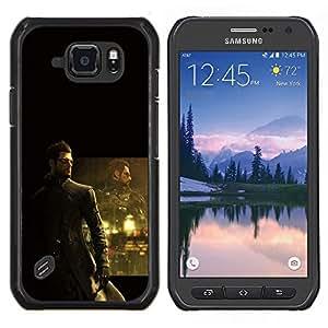 DeusEX Cyborg- Metal de aluminio y de plástico duro Caja del teléfono - Negro - Samsung Galaxy S6 active / SM-G890 (NOT S6)