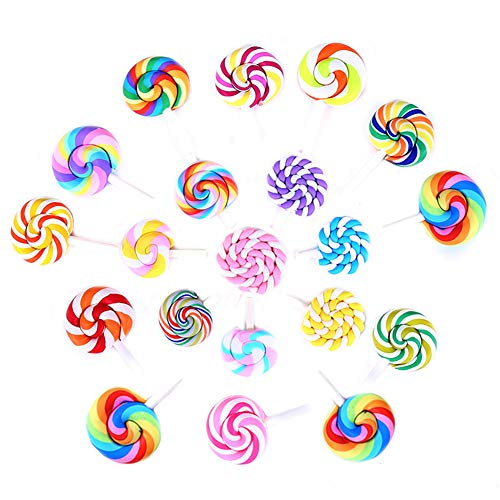 20 Pack Assorted Kawaii Rainbow Slime Charms Clouds Lollipop Hot Balloon Cabochons Resin Flatback Beads for Miniature Fairy Garden Accessories Scrapbooking Home Decor Supplies (Lollipop) ()