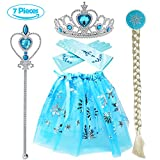 Tacobear Girls 5PCS Princess Dress up Accessories Gift Set Dress Tiara Crown Wig Wand Gloves Blue