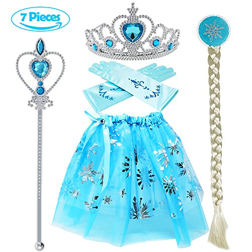 Tacobear Princess Dress up accessories 5 Pieces Gift Set Dress Tiara Crown Wig Wand Gloves Blue