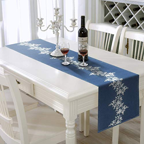 AAYU Denim Table/Bed Runners with Floral Embroidery Down The Middle | 14 Inch X 72 Inch | Premium Quality | Perfect for Weddings, Parties and -