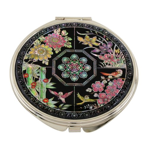 Mother of Pearl Four Noble Plants Double Compact Magnifying Cosmetic Makeup Purse Pocket Mirror, 3.2 Ounce