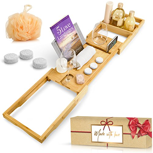 Spa Accessories for Hot Tub, Bamboo Bathtub Caddy Tray, 100% Organic, Extendable Sides, Waterproof, Book/iPad/Tablet Holder | Luxury Set: 3 Pack Lavender Smell Bath Bombs and Bath Sponge as a Bonus. by New England Crafts & Design