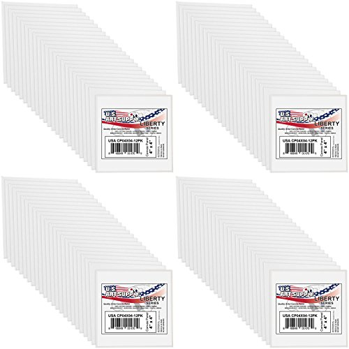 US Art Supply 4 X 4 inch Professional Artist Quality Acid Free Canvas Panels 8-12-Packs (1 Full Case of 96 Single Canvas Panels) by US Art Supply