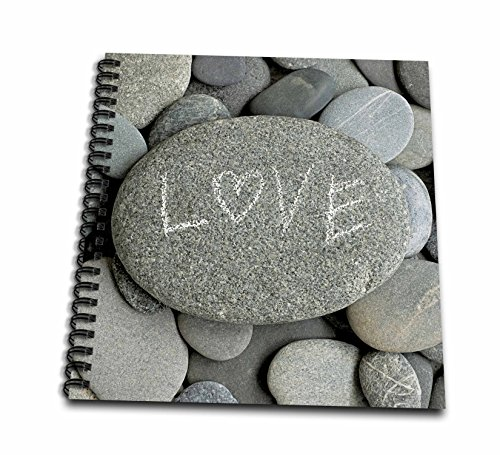 3dRose Andrea Haase Still Life Photography - Grey Pebble With Handwritten Word Love On It - Drawing Book 8 x 8 inch (db_268536_1)