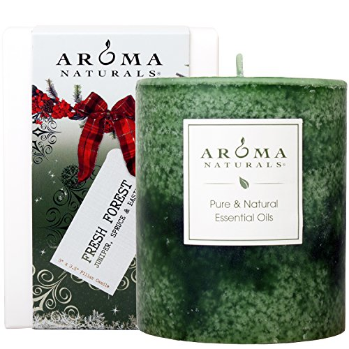 Aroma Naturals Holiday Essential Oil Pillar Candle, Juniper, Spruce and Basil, Fresh Forest, 3 inch x 3.5 inch