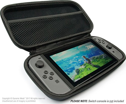 hard-shell-carrying-case-for-nintendo-switch-by-dynamicmods-rigid-woven-exterior-zip-up-clam-shell-s